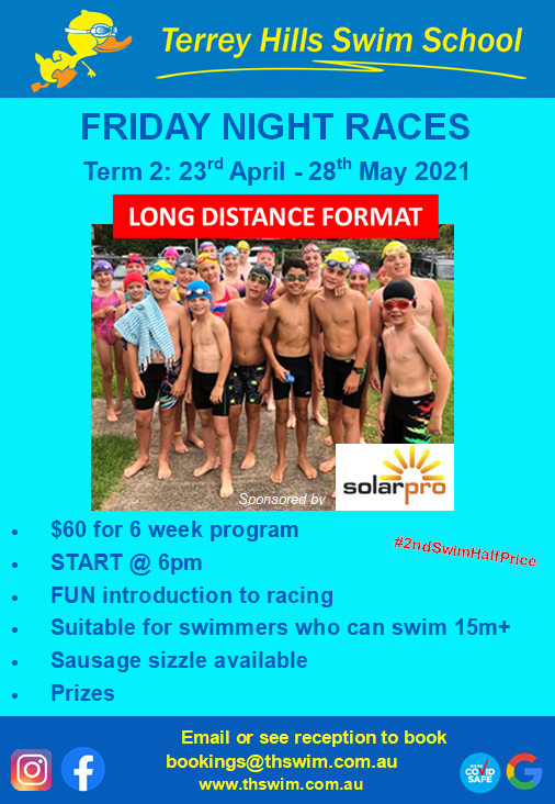 Registrations for 2020-2021 carnival season are open ... - image Friday-Night-Swimming-Races-flyer on https://thswim.com.au